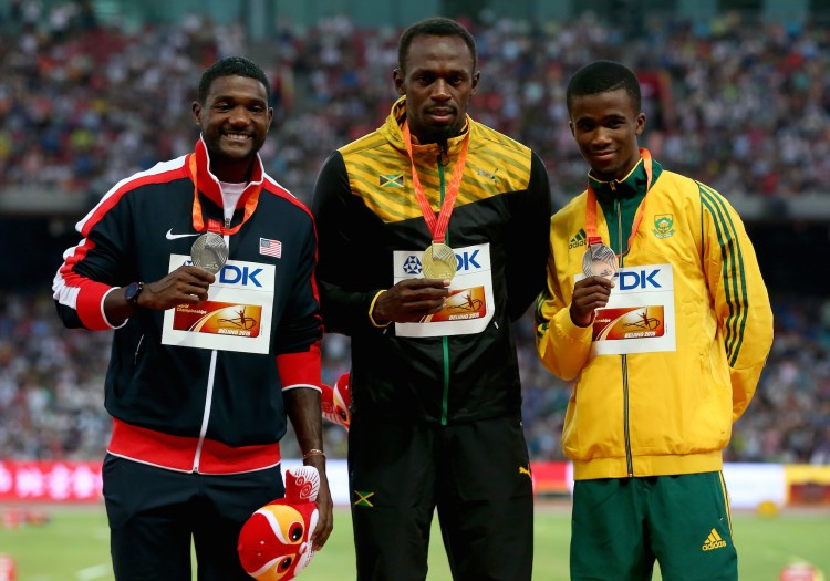 Justin Gatlin of the United States, Usain Bolt of Jamaica and Anaso Jobodwana of South Africa at the 15th IAAF World Athletics Championships Beijing 2015