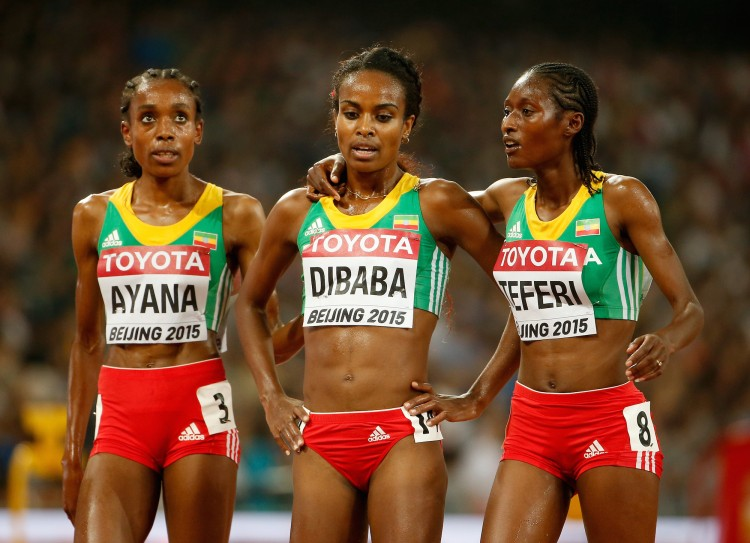 Almaz Ayana, Genzebe Dibaba and Senbere Teferi at the 15th IAAF World Athletics Championships