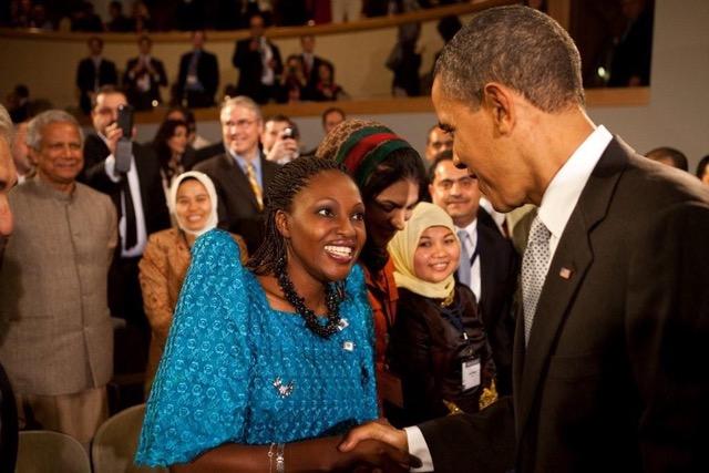 Rehmah Kasule meeting former president Barack Obama