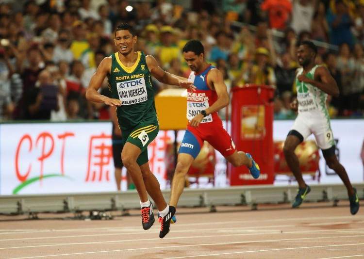 Wayde Van Niekerk of South Africa wins gold in the men's 400 metres