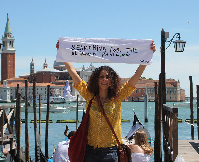 Amina Zoubir searching for the Algerian pavilion
